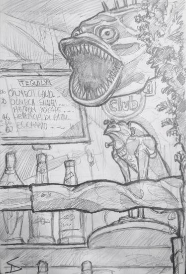 Quick Sketch. 'Klub Ujezd, Prague.' A cool small bar, filled with quirky metal sculptures. @davidasutton @sketchbookexplorer Facebook.com/davidanthonysutton #drawing #sketch #prague #travel #travelblog #klubujezd