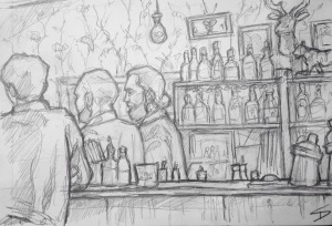 Quick Sketch. 'Malkovich Bar, Prague.' This hipster bar has the feel of a 1950s lounge. This sketch was accompanied by some great live music. @davidasutton @sketchbookexplorer Facebook.com/davidanthonysutton #drawing #sketch #prague #travel #travelblog #malkovichbar