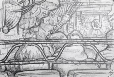Quick Sketch. 'Cross Club, Prague.' This club is a warren of mechanical moving metal artwork. It has a great metal beer garden for the summer. @davidasutton @sketchbookexplorer Facebook.com/davidanthonysutton #drawing #sketch #prague #travel #travelblog #crossclub