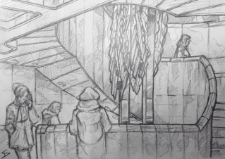 Quick Sketch. 'Cafe Nona, Prague.' View of a great spiral staircase in Cafe Nona. The cafe is in Prague theatre's 'New Stage' - a 1980s ice cube shaped building, incorporating four thousand blocks of glass. @davidasutton @sketchbookexplorer Facebook.com/davidanthonysutton #drawing #sketch #prague #travel #travelblog #cafenona