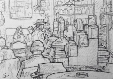 Quick Sketch. 'Cafe Rybka, Prague.' Cool bookstore, cafe and bar. It has the quirky, smoke-filled bohemian feel of somewhere Hemingway might have hung out. @davidasutton @sketchbookexplorer Facebook.com/davidanthonysutton #drawing #sketch #prague #travel #travelblog #caferybka