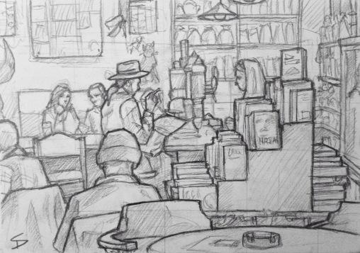 Quick Sketch. 'Cafe Rybka, Prague.' Cool bookstore, cafe and bar. It has the quirky, smoke-filled bohemian feel of somewhere Hemingway might have hung out. @davidasutton @sketchbookexplorer Facebook.com/davidanthonysutton #drawing #sketch #prague #travel #travelblog #caferybka