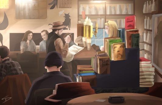 ipad Painting - 'Cafe Rybka, Prague.' @davidasutton @sketchbookexplorer Facebook.com/davidanthonysutton #sketch #ipadart #prague #travelblog #travel #caferybka