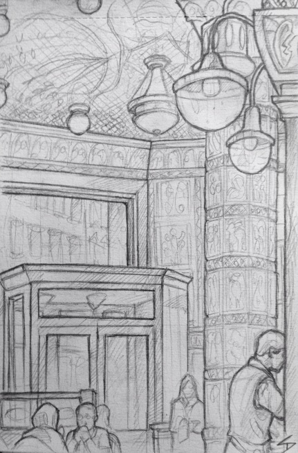 Quick Sketch. 'Cafe Imperial, Prague.' A majestic Art Deco and Nouveau cafe. Egyptian inspired interior. Also great hot chocolates. With over a hundred years of history, it counts Franz Kafka and Leos Janacek amongst its past dinners. @davidasutton @sketchbookexplorer Facebook.com/davidanthonysutton #drawing #sketch #prague #travel #travelblog #cafeimperial