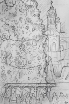 Quick Sketch. 'Prague Christmas Market.' Stunningly beautiful market, especially at night. Try the hot wine, and watch the Christmas tree musical light show. Drawn from outside a cafe - saved from the cold by an outdoor heater and a hot chocolate. Markets are held in a number of locations throughout the festive period, with the largest, and most impressive, being in the Old Town Square. @davidasutton @sketchbookexplorer Facebook.com/davidanthonysutton #drawing #sketch #prague #travel #travelblog #praguechristmasmarket