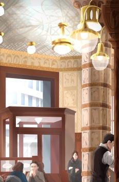 ipad Painting - 'Cafe Imperial, Prague.' @davidasutton @sketchbookexplorer Facebook.com/davidanthonysutton #sketch #ipadart #prague #travelblog #travel #cafeimperial