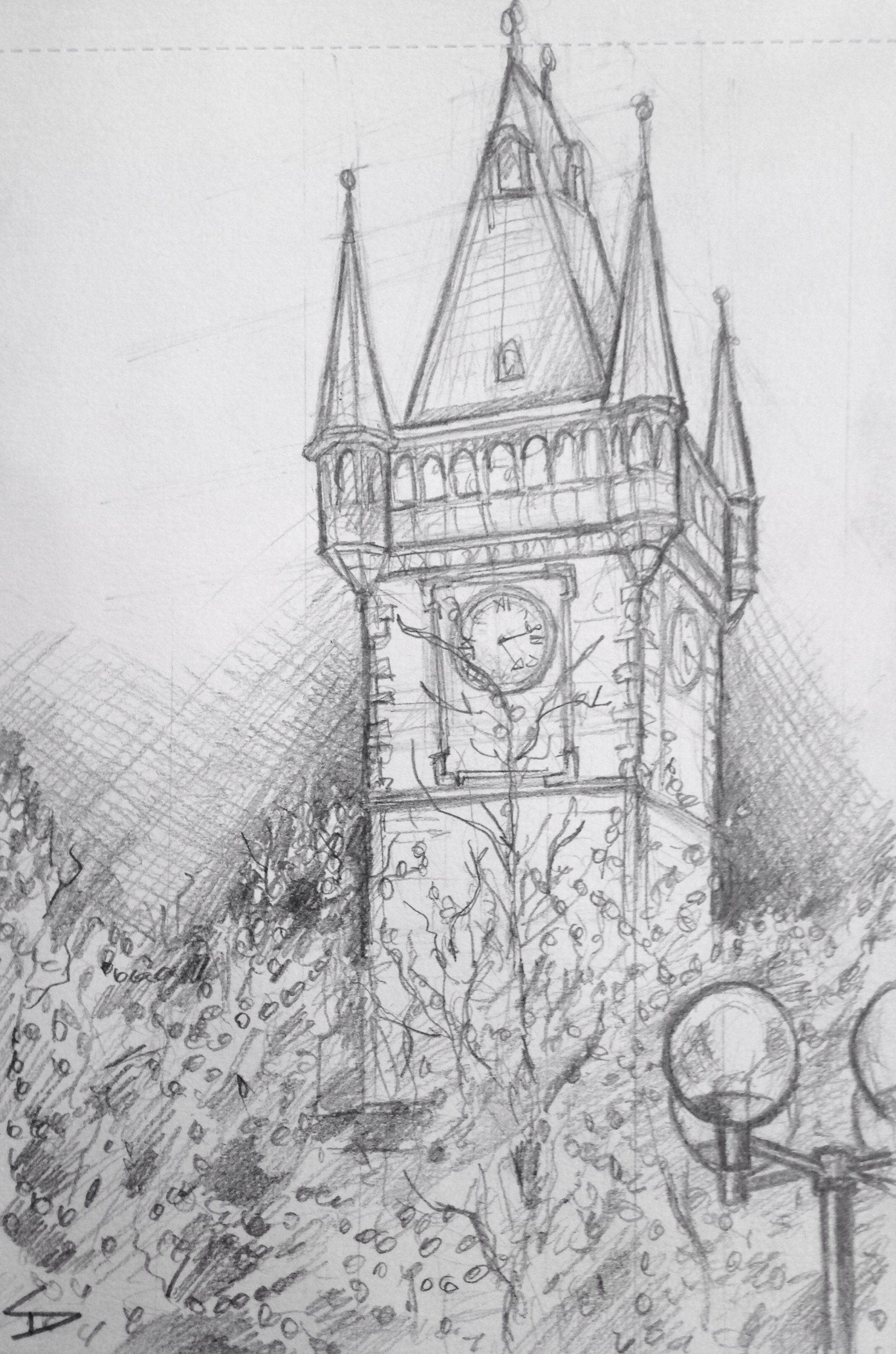 quick sketch old town hall tower prague