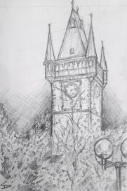 Quick Sketch. 'Old town hall tower, Prague.' Evening view of the tower, from beneath a magical canopy of fairy lights - part of the Christmas market. The town hall tower was built in 1364. The tower is the site of Prague's medieval Astronomical clock, which includes a moving skeletal sculpture of Death. @davidasutton @sketchbookexplorer Facebook.com/davidanthonysutton #drawing #sketch #prague #travel #travelblog #praguechristmasmarket