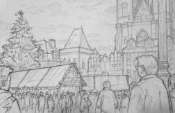 Quick Sketch 2. 'Prague Christmas Market.' The fairytale backdrop to a packed market. Another sketch drawn from an outside cafe. Kept warm by a hot chocolate. @davidasutton @sketchbookexplorer Facebook.com/davidanthonysutton #drawing #sketch #prague #travel #travelblog #praguechristmasmarket