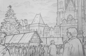 Quick Sketch 2. 'Prague Christmas Market.' The fairytale backdrop to a packed market. Another sketch drawn from an outside cafe. Kept warm by a hot chocolate. @davidasutton @sketchbookexplorer Facebook.com/davidanthonysutton #drawing #sketch #prague #travel #travelblog #praguechristmasmarket