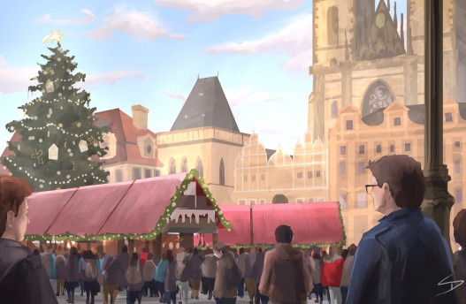 ipad Painting 2 - 'Prague Christmas Market.' @davidasutton @sketchbookexplorer Facebook.com/davidanthonysutton #sketch #ipadart #prague #travelblog #travel #praguechristmasmarket