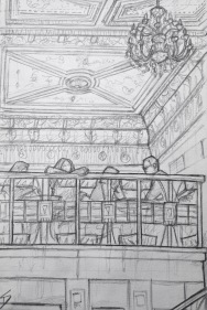 Quick Sketch. 'Cafe Savoy, Prague.' A lavish cafe established in 1893. Enjoy a coffee in architectural splendour. Its Neo-Renaissance ceiling dates from 1893. @davidasutton @sketchbookexplorer Facebook.com/davidanthonysutton #drawing #sketch #prague #travel #travelblog #cafesavoy