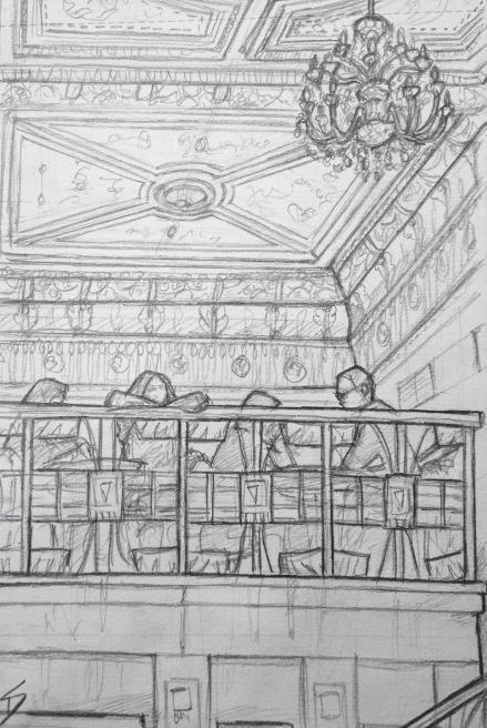 Quick Sketch. 'Cafe Savoy, Prague.' A lavish cafe established in 1893. Enjoy a coffee in architectural splendour. Its Neo-Renaissance ceiling dates from 1893. @davidasutton @sketchbookexplorer Facebook.com/davidanthonysutton #drawing #sketch #prague #travel #travelblog #cafesavoy