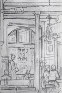 Quick Sketch. 'Cafe de Paris, Hotel Paris, Prague.' Art nouveau cafe, with wonderful organic lighting design and artwork. @davidasutton @sketchbookexplorer Facebook.com/davidanthonysutton #drawing #sketch #prague #travel #travelblog #hotelparis