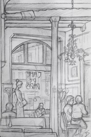 Quick Sketch. 'Cafe de Paris, Hotel Paris, Prague.' Art nouveau cafe, with wonderful organic lighting design and artwork. @davidasutton @sketchbookexplorer Facebook.com/davidanthonysutton #drawing #sketch #prague #travel #travelblog #hotelparis