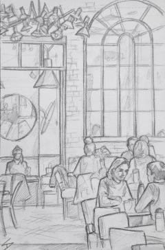 Quick Sketch. 'Cafe Cafe, Prague.' A stylish open plan restaurant and cafe, that has a kind of New York wine bar feel about it. @davidasutton @sketchbookexplorer Facebook.com/davidanthonysutton #drawing #sketch #prague #travel #travelblog #cafecafeprague
