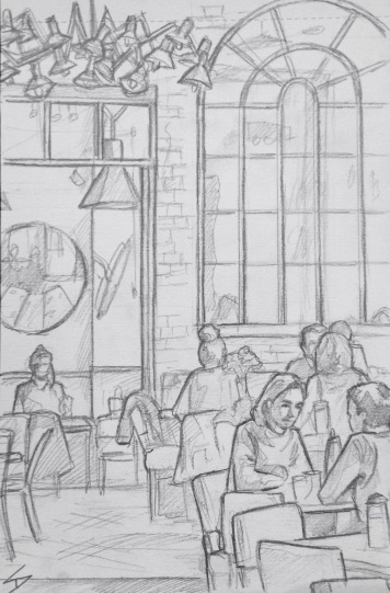 Quick Sketch. 'Cafe Cafe, Prague.' A stylish open plan restaurant and cafe, that has a kind of New York wine bar feel about it. @davidasutton @sketchbookexplorer Facebook.com/davidanthonysutton #drawing #sketch #prague #travel #travelblog #cafecafeprague