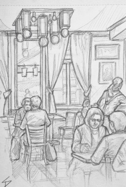 Quick Sketch. 'Cafe Adria, Prague.' A spacious Art Deco restaurant and cafe. The building has an amazing Deco exterior facade. This was tricky to draw, since most of the people left, or moved, straight after I began drawing them. @davidasutton @sketchbookexplorer Facebook.com/davidanthonysutton #drawing #sketch #prague #travel #travelblog #cafeadria