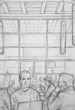 Quick Sketch. 'Cafe Jedna, Prague.' With a gallery style minimalist interior and masses of natural light, this cafe is the perfect place for a coffee after visiting the National Gallery next door, previously home to Mucha's wonderful 'Slav Epic' exhibition. @davidasutton @sketchbookexplorer Facebook.com/davidanthonysutton #drawing #sketch #prague #travel #travelblog #cafejedne