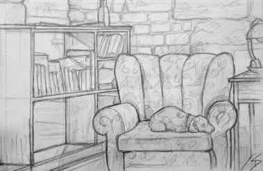 Quick Sketch. 'Prazirna Kavarna, Prague.' Great cafe in vaulted cellars. Study of the cute cafe dog 'Kacenka.' @davidasutton @sketchbookexplorer Facebook.com/davidanthonysutton #drawing #sketch #prague #travel #travelblog #prazirnacafe