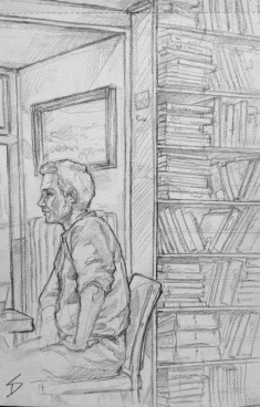 Quick Sketch. 'Ouky Douky Coffee, Prague.' Secondhand bookshop, cafe and bar. Grab a coffee and relax on a sofa, surrounded by books. @davidasutton @sketchbookexplorer Facebook.com/davidanthonysutton #drawing #sketch #prague #travel #travelblog #oukydoukycoffee