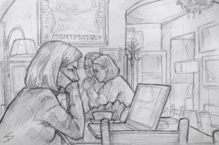 Quick Sketch. 'Cafe Montmartre, Prague.' A Parisian vaulted cafe and bar in Prague. Jazz music just adds to the atmosphere. @davidasutton @sketchbookexplorer Facebook.com/davidanthonysutton #drawing #sketch #prague #travel #travelblog #cafemontmartre