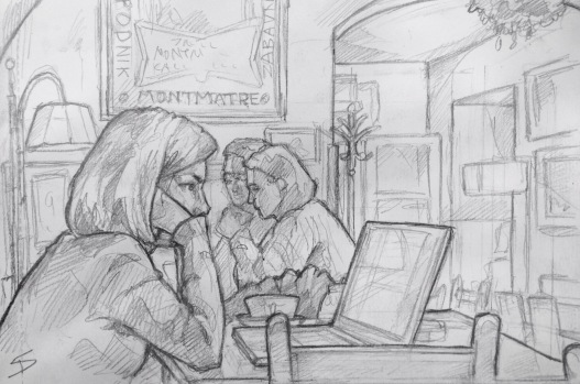 Quick Sketch. 'Cafe Montmartre, Prague.' A Parisian vaulted cafe and bar in Prague. Jazz music just adds to the atmosphere. @davidasutton @sketchbookexplorer Facebook.com/davidanthonysutton #drawing #sketch #prague #travel #travelblog #cafemontmartre