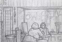 Quick Sketch. 'Cafe Platyz, Prague.' Cafe with a massive classical space, a vaulted ceiling, and elegant decorations. @davidasutton @sketchbookexplorer Facebook.com/davidanthonysutton #drawing #sketch #prague #travel #travelblog #cafeplatyz