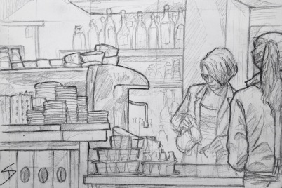 Quick Sketch. 'Café Colore, Prague.' A great cafe that mixes old architecture and modern decor. I tried to capture the friendly staff at work. @davidasutton @sketchbookexplorer Facebook.com/davidanthonysutton #drawing #sketch #prague #travel #travelblog #cafecolore