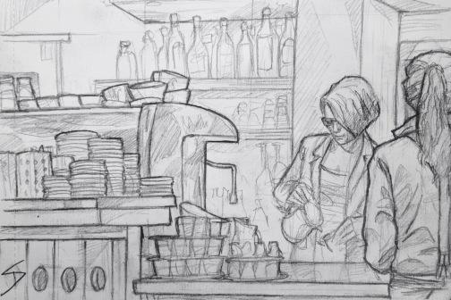 Quick Sketch. 'Café Colore, Prague.' A great cafe that mixes old architecture and modern decor. I tried to capture the friendly staff at work. @davidasutton @sketchbookexplorer Facebook.com/davidanthonysutton #drawing #sketch #prague #travel #travelblog #cafecolore