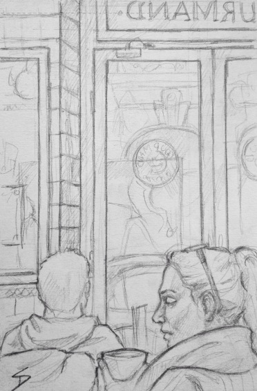 Quick Sketch. 'Au Gourmand, Prague.' Great little cafe, restaurant, patisserie and boulangerie. Elegant tiled walls, and mosaic tabletops. They make a mean peppermint hot chocolate. The sketch was tough, since everybody moved and left soon after I began. @davidasutton @sketchbookexplorer Facebook.com/davidanthonysutton #drawing #sketch #prague #travel #travelblog #augourmandpraha
