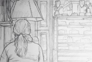 Quick Sketch. 'Cukrárna Alchymista, Prague.' A quirky and nostalgic cafe, with a great selection of cakes, retro music, and a garden. Not to mention the cafe cat, who sleeps in a little cove above a radiator. @davidasutton @sketchbookexplorer Facebook.com/davidanthonysutton #drawing #sketch #prague #travel #travelblog #cukrárnaalchymista