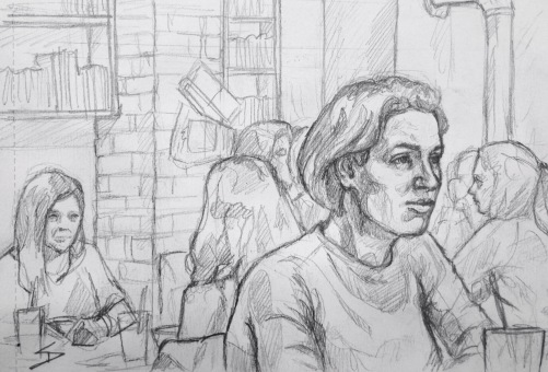 Quick Sketch. 'Můj šálek kávy, Prague.' A cool and very busy cafe in Krizikova. Light airy interior with a painted brick mural, bookcases, and a log fire burner. @davidasutton @sketchbookexplorer Facebook.com/davidanthonysutton #drawing #sketch #prague #travel #travelblog #mujsalekkavy