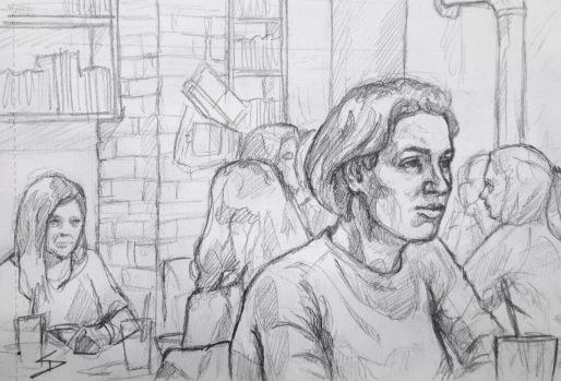 Quick Sketch. 'Můj šálek kávy, Prague.' A cool and very busy cafe in Krizikova. Light airy interior with a painted brick mural, bookcases, and a log fire burner. @davidasutton @sketchbookexplorer Facebook.com/davidanthonysutton #drawing #sketch #prague #travel #travelblog #mujsalekkavy