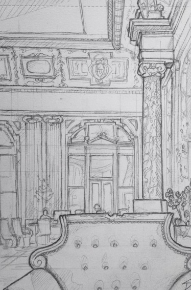 Quick Sketch. 'Boscolo Hotel, Prague.' Taking a drink from the hotel's coffee bar in the grand lobby. Impressively ornate hall that wouldn't look out of place at the Palace of Versailles. @davidasutton @sketchbookexplorer Facebook.com/davidanthonysutton #drawing #sketch #prague #travel #travelblog #boscoloprague