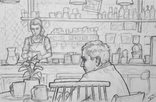 Quick Sketch. 'La Boheme Cafe, Prague.' A cool little arty cafe. It has a great selection of drinks. @davidasutton @sketchbookexplorer Facebook.com/davidanthonysutton #drawing #sketch #prague #travel #travelblog #labohemecafe