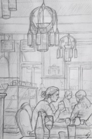 Quick Sketch. 'Café Amandine, Prague.' A charming cafe with Parisian, art nouveau, inspired decor - amazing lights, and nostalgic B&W photos. @davidasutton @sketchbookexplorer Facebook.com/davidanthonysutton #drawing #sketch #prague #travel #travelblog #cafeamandine