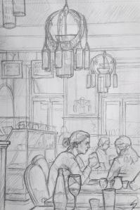 Quick Sketch. 'Café Amandine, Prague.' A charming cafe with Parisian, art nouveau, inspired decor - amazing lights, and nostalgic B&W photos. @davidasutton @sketchbookexplorer Facebook.com/davidanthonysutton #drawing #sketch #prague #travel #travelblog #cafeamandine