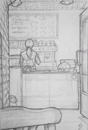 Quick Sketch. 'IF Café, Prague.' A cozy basement cafe, with a vaulted ceiling, and a great selection of hot chocolates and cakes. @davidasutton @sketchbookexplorer Facebook.com/davidanthonysutton #drawing #sketch #prague #travel #travelblog #ifcafe