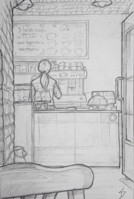 Quick Sketch. 'IF Café, Prague.' A cozy basement cafe, with a vaulted ceiling, and a great selection of hot chocolates and cakes. @davidasutton @sketchbookexplorer Facebook.com/davidanthonysutton #drawing #sketch #prague #travel #travelblog #ifcafe