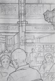 Quick Sketch 2. 'Obecni Dum Cafe, Prague.' Sketching under stunning Art Deco lights, while listening to the sounds of a grand piano. @davidasutton @sketchbookexplorer Facebook.com/davidanthonysutton #drawing #sketch #prague #travel #travelblog #obecnidumcafe