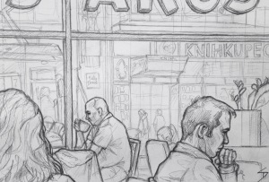 Quick Sketch 2. 'Costa Coffee, Národní Třída, Prague.' A nice coffee shop, with pleasant staff, and a mean chocolate tiffin. Good view of a busy tram stop - ideal for people sketching. @davidasutton @sketchbookexplorer Facebook.com/davidanthonysutton #drawing #sketch #prague #travel #travelblog #costacoffee