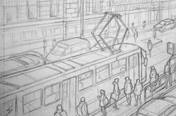 Quick Sketch 2. 'Cafe Nona, Prague.' View of the Narodni Divadlo tram stop. It proved to be a slightly tricky angle. Great views of Prague from the cafe. @davidasutton @sketchbookexplorer Facebook.com/davidanthonysutton #drawing #sketch #prague #travel #travelblog #cafenona