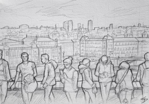 Quick Sketch. 'Letna Park, Prague.' Beautiful sunny day on Letna Hill, overlooking Prague. This park has great festivals and an outdoor bar - perfect for sunny days and warm nights. @davidasutton @sketchbookexplorer Facebook.com/davidanthonysutton #drawing #sketch #prague #travel #travelblog #letnapark