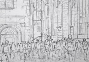 Quick Sketch 3. 'Prague Castle.' Visitors flocking to Prague Castle on a sunny day. The Easter market is still going on. More selfies being taken than you can shake a selfie stick at. @davidasutton @sketchbookexplorer Facebook.com/davidanthonysutton #drawing #sketch #prague #travel #travelblog #praguecastle