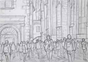 Quick Sketch 3. 'Prague Castle.' Visitors flocking to Prague Castle on a sunny day. The Easter market is still going on. More selfies being taken than you can shake a selfie stick at. @davidasutton @sketchbookexplorer Facebook.com/davidanthonysutton #drawing #sketch #prague #travel #travelblog #praguecastle