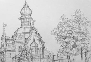 Quick Sketch. 'Hanavsky Pavillon, Prague.' Cool Art Nouveau building, overlooking Prague. It makes me think of Jules Verne. @davidasutton @sketchbookexplorer Facebook.com/davidanthonysutton #drawing #sketch #prague #travel #travelblog #hanavskypavillon