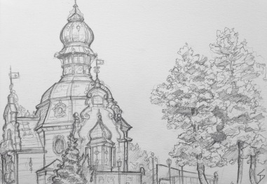 Quick Sketch. 'Hanavsky Pavillon, Prague.' Cool Art Nouveau building, overlooking Prague. It makes me think of Jules Verne. @davidasutton @sketchbookexplorer Facebook.com/davidanthonysutton #drawing #sketch #prague #travel #travelblog #hanavskypavillon