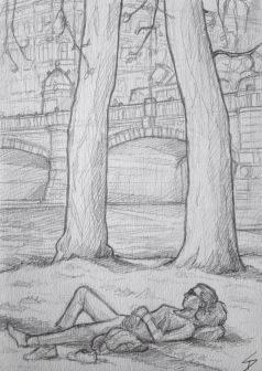Quick Sketch. 'Strelecky Island, Prague.' A sunbather enjoying a beautiful April day on Prague's island park. @davidasutton @sketchbookexplorer Facebook.com/davidanthonysutton #drawing #sketch #prague #travel #travelblog #streleckyisland