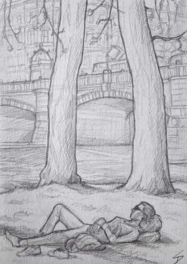 Quick Sketch. 'Strelecky Island, Prague.' A sunbather enjoying a beautiful April day on Prague's island park. @davidasutton @sketchbookexplorer Facebook.com/davidanthonysutton #drawing #sketch #prague #travel #travelblog #streleckyisland